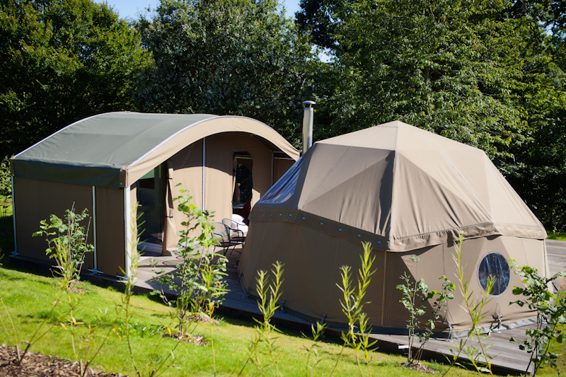 Domed sleeping pod and kitchen and shower room pod